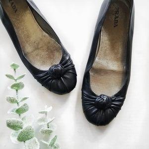 Authentic Prada Black Ballet Knot Flats EU 41